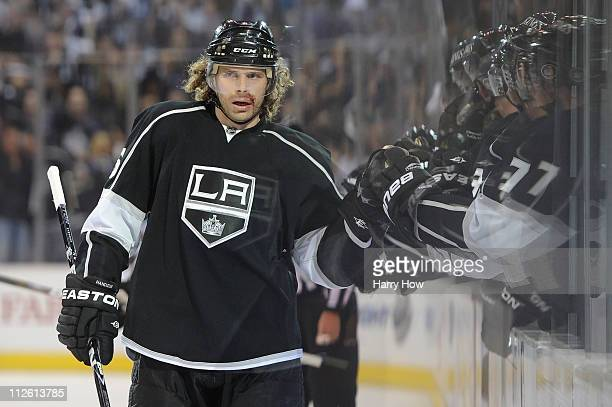 Michal Handzus of the Los Angeles Kings celebrates with teammates after scoring a goal in the first period against the San Jose Sharks in game three...