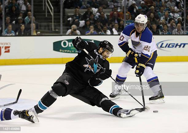 Michal Handzus of the San Jose Sharks and Alexander Steen of the St Louis Blues go for the puck in Game Four of the Western Conference Quarterfinals...