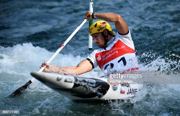 Michal Jane of The Czech Republic competes during the Canoe Single Men's Qualification of the ICF Canoe Slalom World Cup on June 23 2017 in Augsburg...