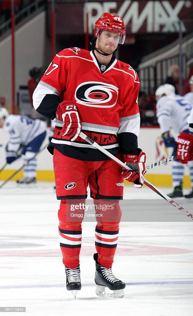 Michal Jordan #47 of the Carolina Hurricanes participates in warmups prior to an NHL game against the Toronto Maple Leafs at PNC Arena on February 14, 2013 in Raleigh, North Carolina. Jordan has been recalled from the Charlotte Checkers and will make his NHL debut tonight.