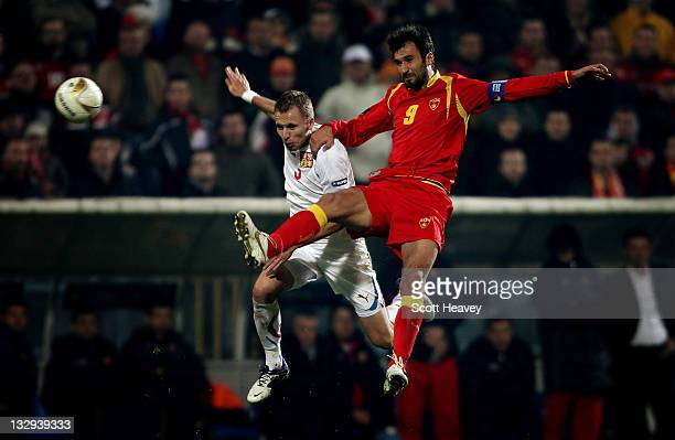 Michal Kadlec of Czech Republic in action with Mirko Vucinic of Montenegro during the EURO 2012 Qualifier Play Off Second Leg between Montenegro and...