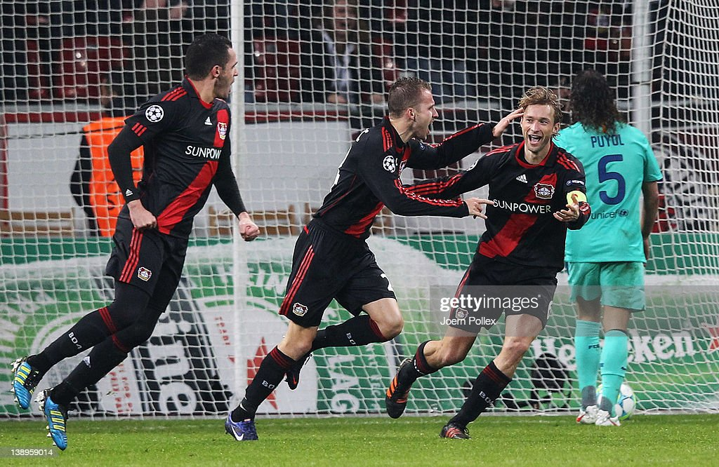 <a gi-track='captionPersonalityLinkClicked' href=/galleries/search?phrase=Michal+Kadlec&family=editorial&specificpeople=2156641 ng-click='$event.stopPropagation()'>Michal Kadlec</a> (C) of Leverkusen celebrates with his team mates after scoring his team'S first goal during the UEFA Champions League round of sixteen first leg match between Bayer 04 Leverkusen and FC Barcelona at BayArena on February 14, 2012 in Leverkusen, Germany.