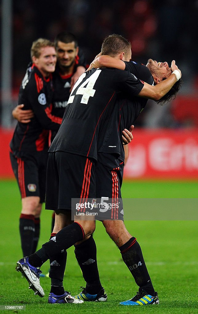 <a gi-track='captionPersonalityLinkClicked' href=/galleries/search?phrase=Michal+Kadlec&family=editorial&specificpeople=2156641 ng-click='$event.stopPropagation()'>Michal Kadlec</a> of LEverkusen celebrates with team mate <a gi-track='captionPersonalityLinkClicked' href=/galleries/search?phrase=Manuel+Friedrich&family=editorial&specificpeople=671679 ng-click='$event.stopPropagation()'>Manuel Friedrich</a> after winning the UEFA Champions League group E match between Bayer 04 Leverkusen and CF Valencia at BayArena on October 19, 2011 in Leverkusen, Germany.