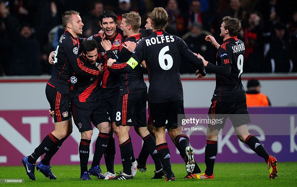 <a gi-track='captionPersonalityLinkClicked' href=/galleries/search?phrase=Michal+Kadlec&family=editorial&specificpeople=2156641 ng-click='$event.stopPropagation()'>Michal Kadlec</a> of Leverkusen (L) celebrates with team mates after scoring his teams first goal during the UEFA Champions League round of 16 first leg match between Bayer 04 Leverkusen and FC Barcelona at BayArena on February 14, 2012 in Leverkusen, Germany.