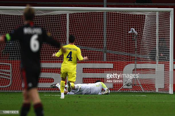 Michal Kadlec of Leverkusen scores his team's first goal against goalkeeper Diego Lopez and Mateo Musacchio of Villarreal during the UEFA Europa...