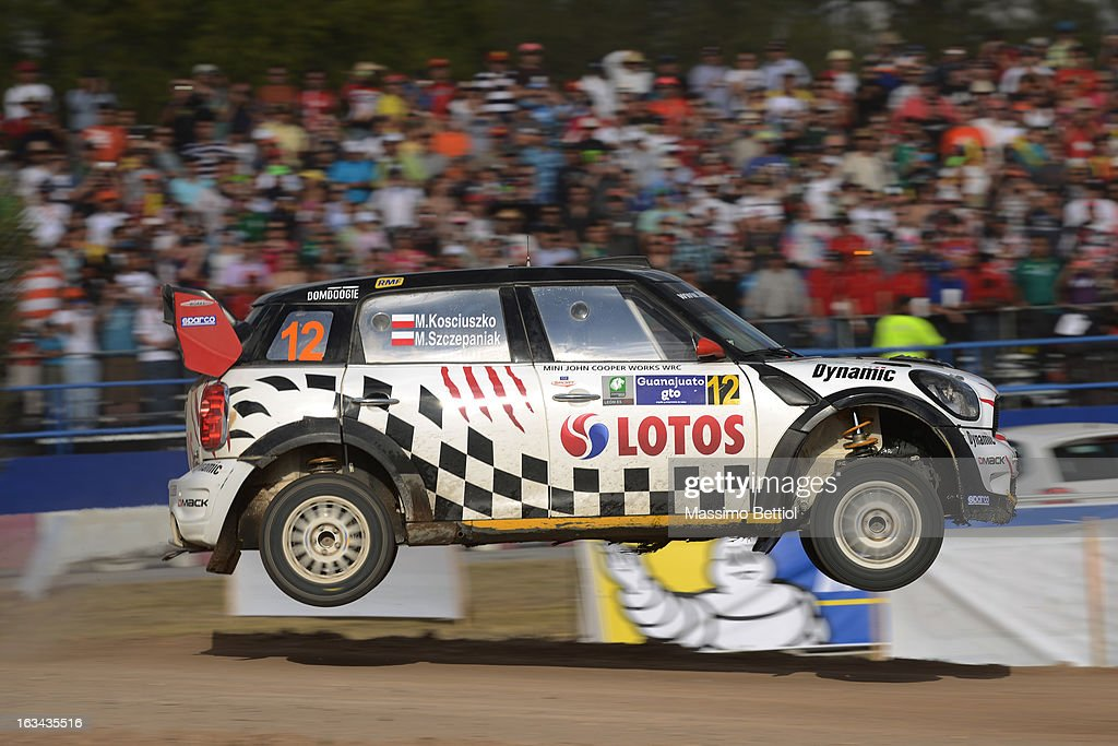 Michal Kosciuszko of Poland and Maciej Szczepaniak of Poland compete in their Lotos Team WRC Mini John Cooper Works WRC during Day Two of the WRC Mexico on March 09 , 2013 in Leon , Mexico.
