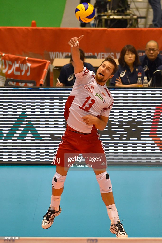 Michal Kubiak #13 of Poland serves the ball during the Men's World Olympic Qualification game between Poland and Canada at Tokyo Metropolitan Gymnasium on May 28, 2016 in Tokyo, Japan.