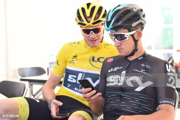 Michal KWIATKOWSKI and Christopher FROOME ahead of the start to 589km Main Race of the 5th edition of TDF Saitama Criterium 2017 On Saturday 4...