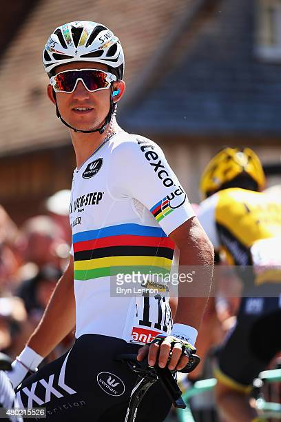 Michal Kwiatkowski of Poland and EtixxQuick Step joins the other riders at the start prior to stage seven of the 2015 Tour de France a 1905km stage...