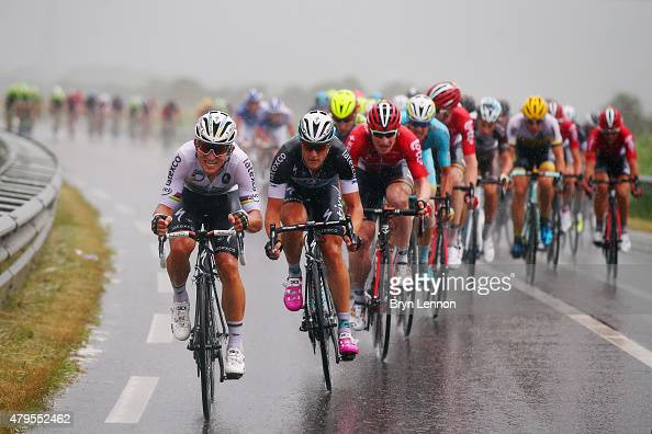 Michal Kwiatkowski of Poland and EtixxQuick Step rides through the rain with the peloton during stage two of the 2015 Tour de France a 166km stage...