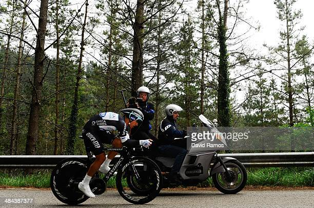 Michal Kwiatkowski of Poland and Team Omega Phama QuickStep in action to be third during Stage Six of Vuelta al Pais Vasco on April 12 2014 in...