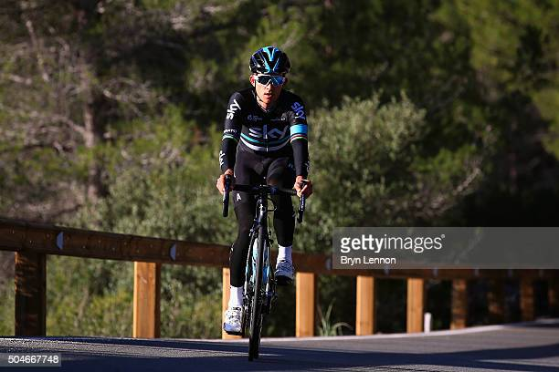 Michal Kwiatkowski of Poland in action during a media day training ride at a Team Sky Training Camp on January 12 2016 in Mallorca Spain