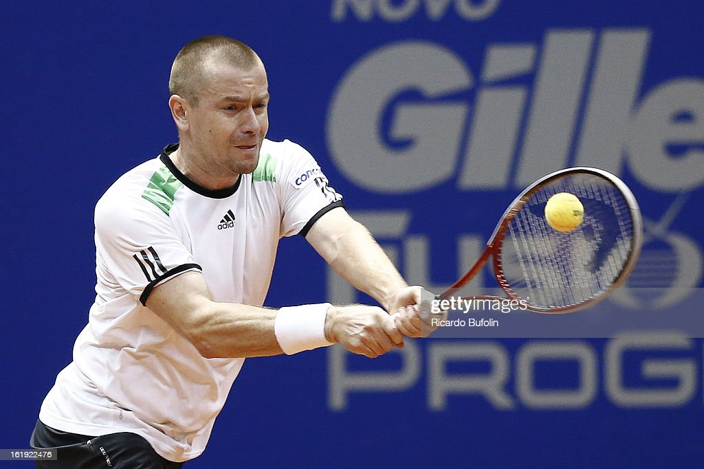 Michal Mertinak from Slovakia in action during the double final match against Alexander Peya from Austria and Bruno Soares from Brasil as part of the ATP Brazil Open on February 17, 2013, at Ibirapuera Gymnasium in Sao Paulo, Brazil.