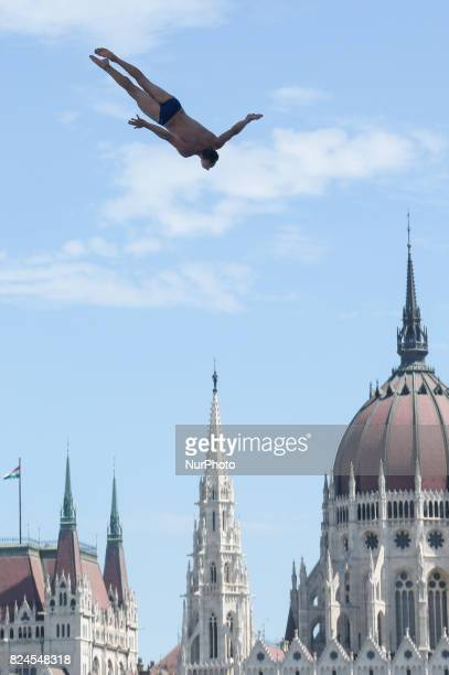 Michal Navratil competes in round 3 of the men's High Diving competition at the 2017 FINA World Championships in Budapest on July 30 2017
