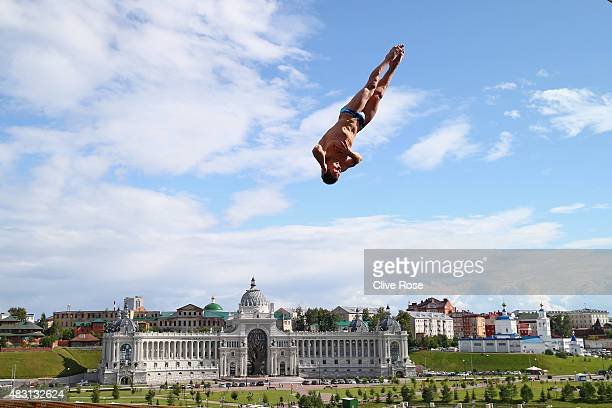 Michal Navratil of Czech Republic competes in the Men's 27m High Diving Final on day twelve of the 16th FINA World Championships at the Kanzanka...
