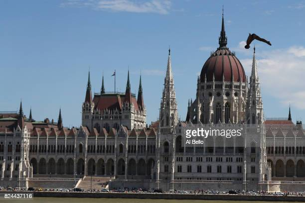 Michal Navratil of the Czech Republic competes during the Men's High Diving on day seventeen of the Budapest 2017 FINA World Championships on July 30...