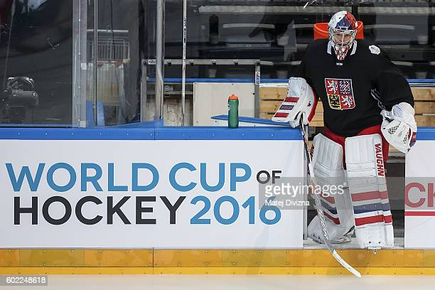 Michal Neurvith of Czech Republic arrives for a practice for the 2016 World Cup Of Hockey preparation match between Czech Republic and Russia at O2...