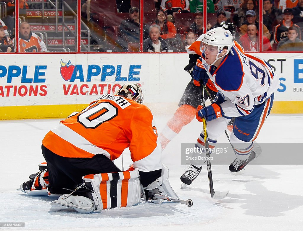 Michal Neuvirth #30 of the Philadelphia Flyers makes the first period save on Connor McDavid #97 of the Edmonton Oilers at the Wells Fargo Center on March 3, 2016 in Philadelphia, Pennsylvania.