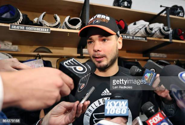 Michal Neuvirth of the Philadelphia Flyers speaks to the media after defeating the Florida Panthers 51 on October 17 2017 at the Wells Fargo Center...