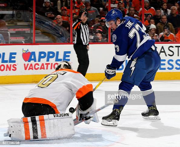 Michal Neuvirth of the Philadelphia Flyers stops a shot by Adam Erne of the Tampa Bay Lightning on January 7 2017 at Wells Fargo Center in...
