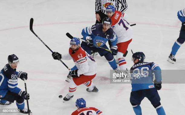 Michal Repik and Robin Hanzl of Czech Republic in action with Valtteri Filppula Julius Honka and Mikko Rantanen of Finland during the 2017 IIHF Ice...