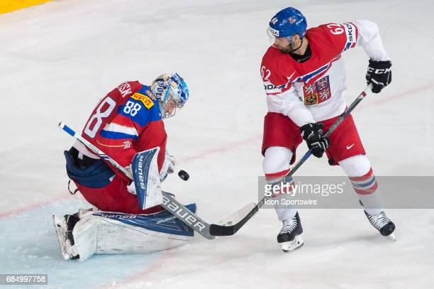 Michal Repik tries to score against Goalie Andrei Vasilevski during the Ice Hockey World Championship Quarterfinal between Russia and Czech Republic...