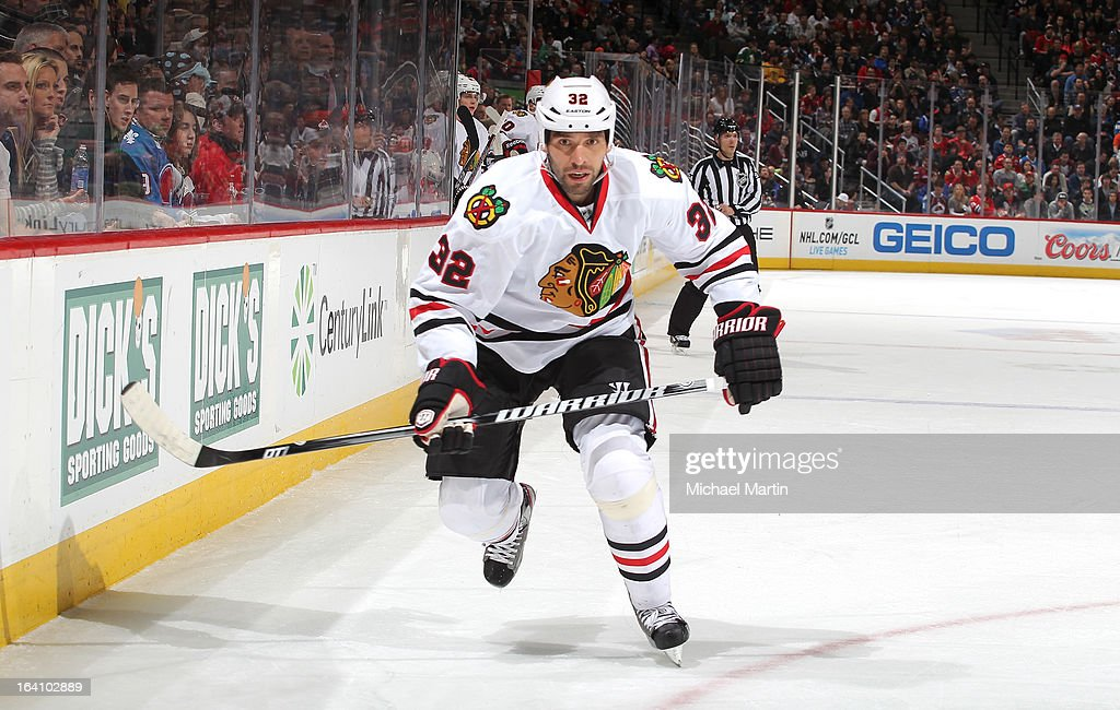 Michal Rozsival #32 of the Chicago Blackhawks skates against the Colorado Avalanche at the Pepsi Center on March 18, 2013 in Denver, Colorado. Chicago beat Colorado 5-2.
