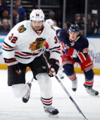 Michal Rozsival of the Chicago Blackhawks skates against the New York Rangers at Madison Square Garden on February 27 2014 in New York City The New...