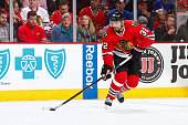 Michal Rozsival of the Chicago Blackhawks skates with the puck during the NHL game against the New York Rangers on March 08 2015 at the United Center...
