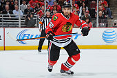 Michal Rozsival of the Chicago Blackhawks watches for the puck during the NHL game against the Anaheim Ducks on October 28 2014 at the United Center...