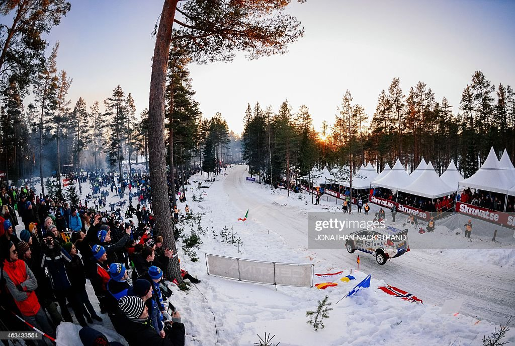 Michal Solowow of Poland and his codriver Maciek Baran steer their Ford Fiesta WRC during the 18th stage of the Rally Sweden second round of the FIA...