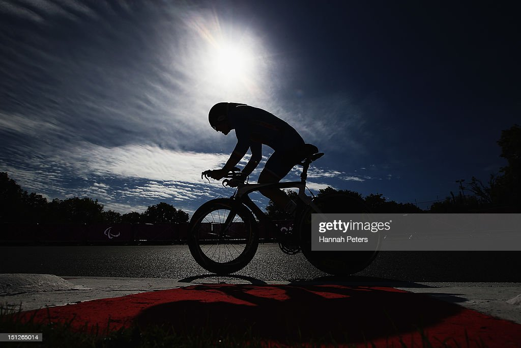 Michal Stark of the Czech Republic competes in the Men's Individual C 2 Time Trial on day 7 of the London 2012 Paralympic Games at Brands Hatch on September 5, 2012 in Longfield, England.