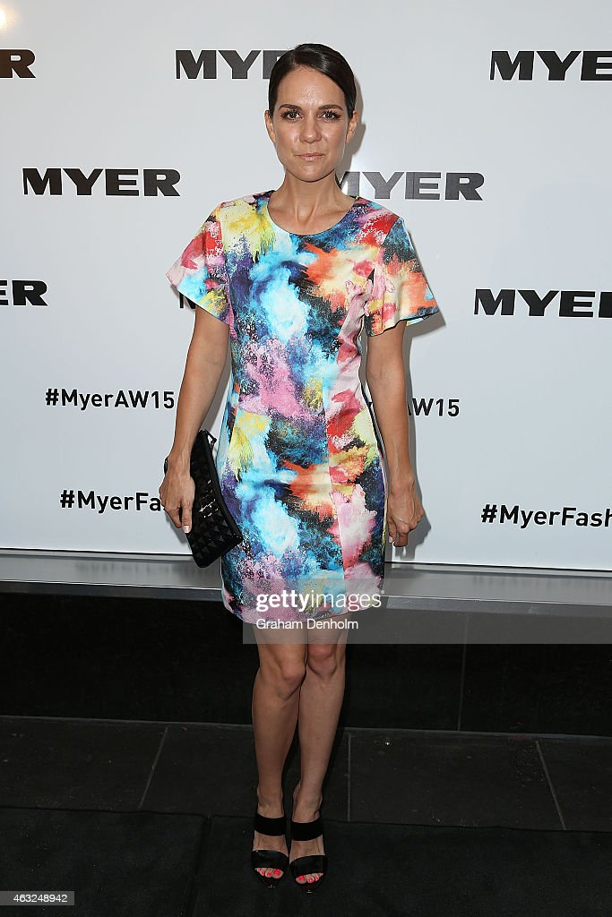 Michala Banas poses as she arrives for the Myer A/W 2015 Season Launch at Myer Mural Hall on February 12, 2015 in Melbourne, Australia.