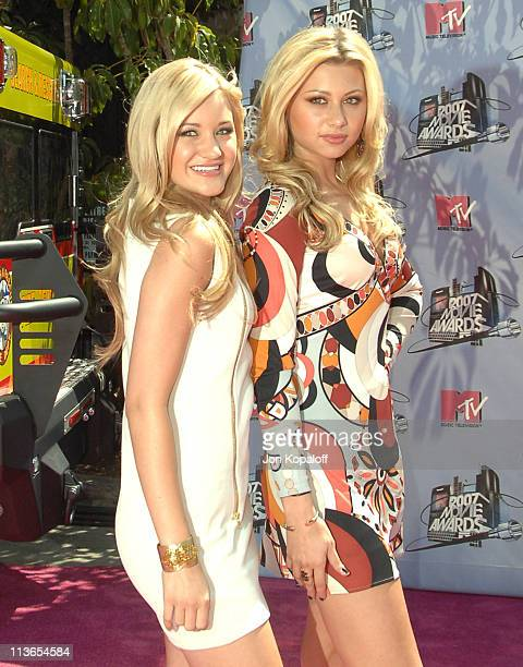 AJ Michalka and Aly Michalka of Aly AJ during 2007 MTV Movie Awards Arrivals at Gibson Amphitheater in Los Angeles California United States