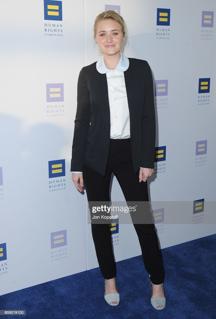 AJ Michalka arrives at the Human Rights Campaign's 2017 Los Angeles Gala Dinner at JW Marriott Los Angeles at L.A. LIVE on March 18, 2017 in Los Angeles, California.