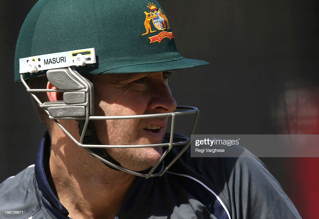 Micheal Clarke bats during an Australian training session at Adelaide Oval on November 20, 2012 in Adelaide, Australia.