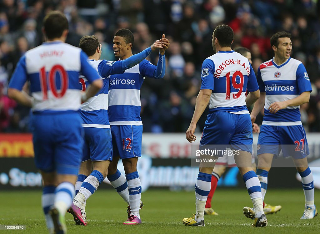Micheal Doyle of Reading celebrates scoring the 4th goal during the FA Cup Fourth Round match between Reading v Sheffield United at Madejski Stadium on January 26, 2013 in Reading, England.