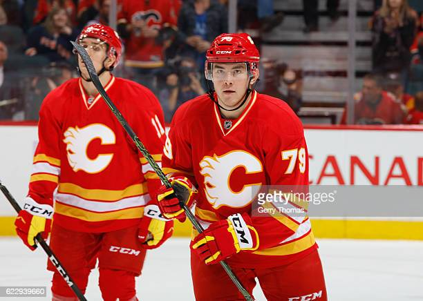 Micheal Ferland of the Calgary Flames celebrates after a goal against the New York Rangers at Scotiabank Saddledome on November 12 2016 in Calgary...