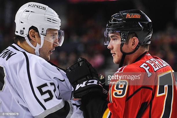 Micheal Ferland of the Calgary Flames exchanges words after the whistle with Luke Schenn of the Los Angeles Kings during an NHL game at Scotiabank...
