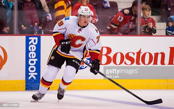 Micheal Ferland of the Calgary Flames in NHL action against the Vancouver Canucks on October 10 2015 at Rogers Arena in Vancouver British Columbia...
