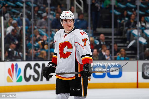 Micheal Ferland of the Calgary Flames looks on during the game against the San Jose Sharks at SAP Center on February 11 2016 in San Jose California