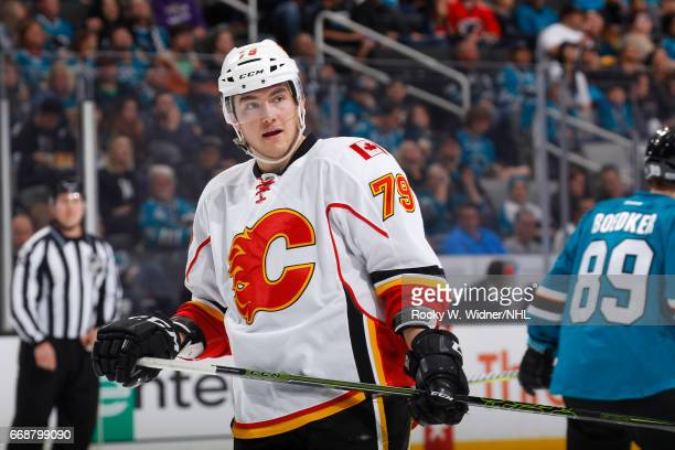 Micheal Ferland of the Calgary Flames looks on during the game against the San Jose Sharks at SAP Center on April 8 2017 in San Jose California