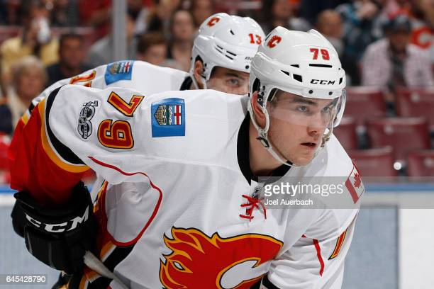Micheal Ferland of the Calgary Flames prepares for a face off against the Florida Panthers at the BBT Center on February 24 2017 in Sunrise Florida...