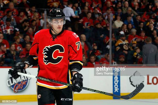 Micheal Ferland of the Calgary Flames skates against the Boston Bruins during an NHL game on March 15 2017 at the Scotiabank Saddledome in Calgary...