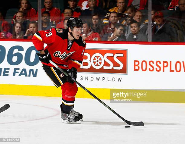 Micheal Ferland of the Calgary Flames skates against the Boston Bruins at Scotiabank Saddledome on December 4 2015 in Calgary Alberta Canada