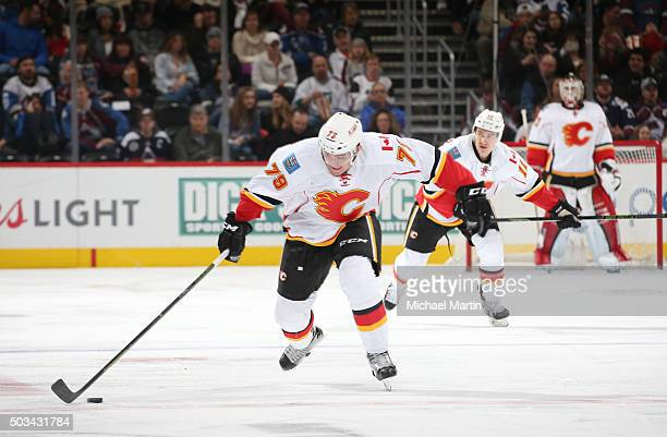 Micheal Ferland of the Calgary Flames skates against the Colorado Avalanche at the Pepsi Center on January 2 2016 in Denver Colorado The Flames...