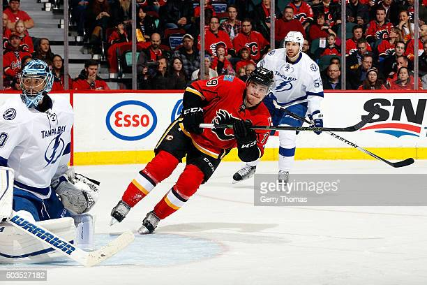 Micheal Ferland of the Calgary Flames skates against the Tampa Bay Lightning during an NHL game at Scotiabank Saddledome on January 5 2016 in Calgary...