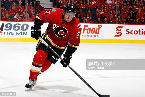 Micheal Ferland of the Calgary Flames skates against the Vancouver Canucks at Scotiabank Saddledome for the NHL season opener on October 7 2015 in...