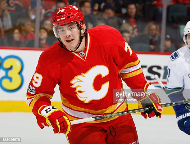 Micheal Ferland of the Calgary Flames skates against the Vancouver Canucks at Scotiabank Saddledome on January 7 2017 in Calgary Alberta Canada
