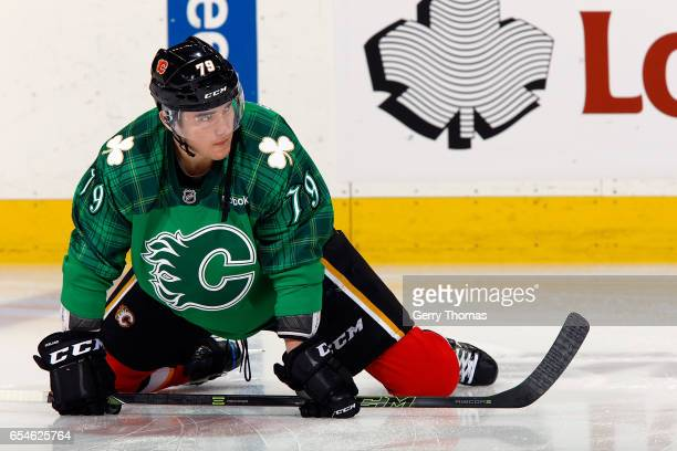 Micheal Ferland of the Calgary Flames skates in the warmup before an NHL game against the Dallas Stars on March 17 2017 at the Scotiabank Saddledome...